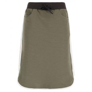Above-the-knee cotton skirt with a drawstring and contrast lateral band
