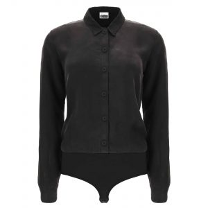 Black bodysuit with a collared shirt