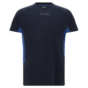 Raglan t-shirt with electric blue mesh inserts